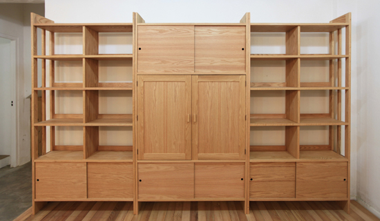 Red-oak bookshelf set